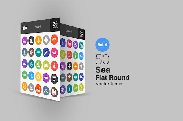 50 Sea Flat Round Icons