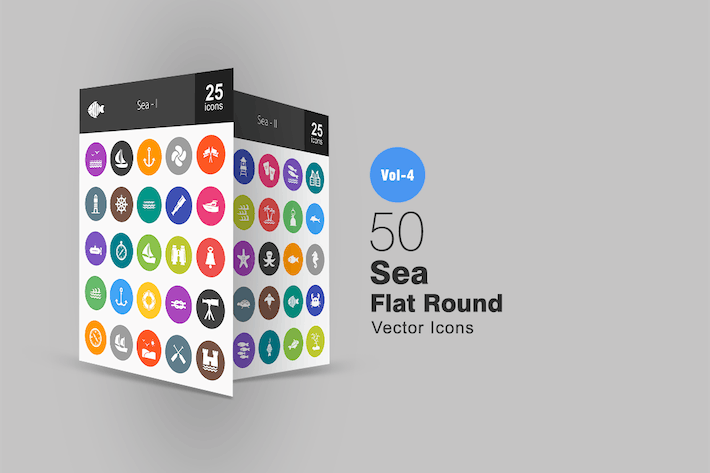 Thumbnail for 50 Sea Flat Round Icons
