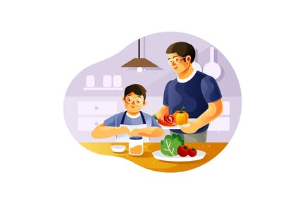 Father and son cook together in the kitchen