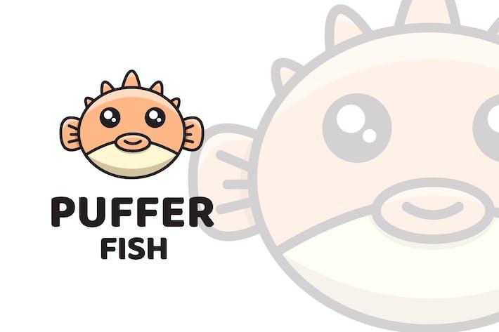Puffer Fish Cute Logo Template