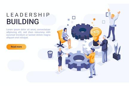 Leadership Isométrique Header Concept plat