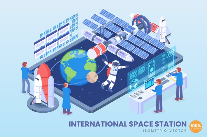 Cover Image For Isometric International Space Station Vector