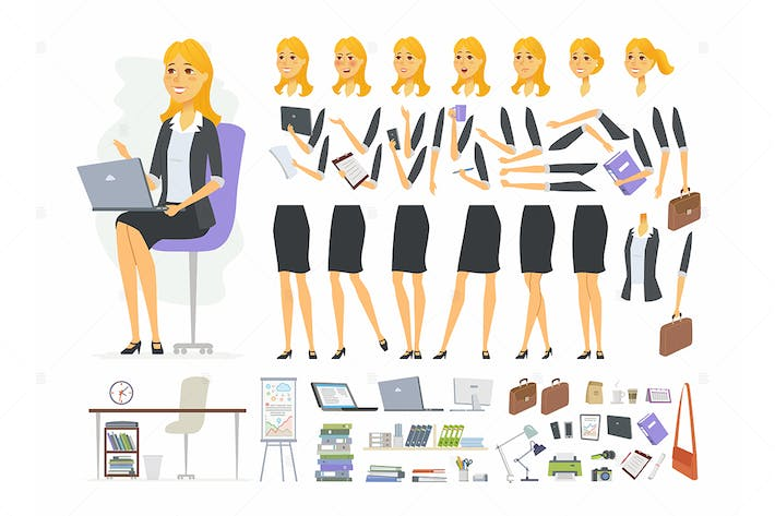 Thumbnail for Businesswoman - cartoon character constructor