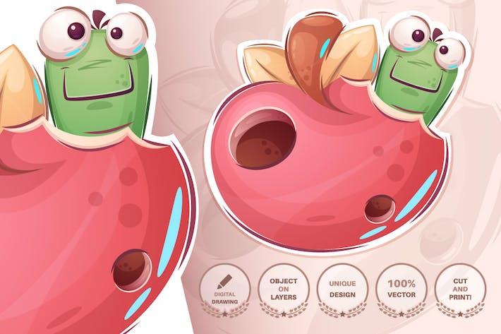 Raupe in Apfel - Nahtloses Muster