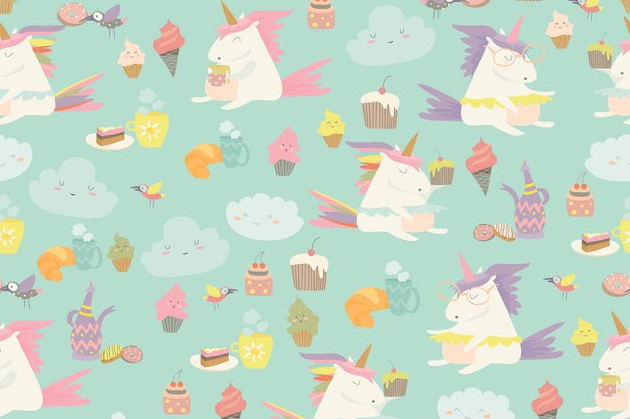Thumbnail for Vector cartoon seamless pattern unicorn with cake