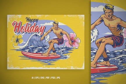 Surfer Illustration Design in Vintage Hand Drawn