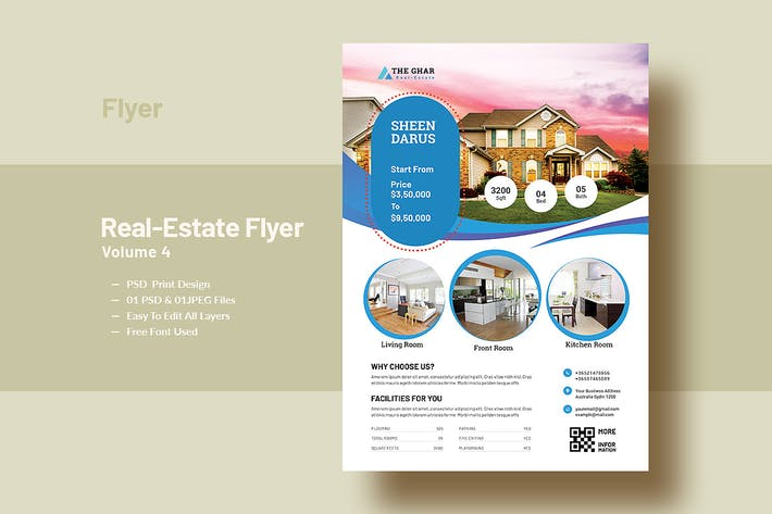 Thumbnail for Real-Estate Flyer Template V-4