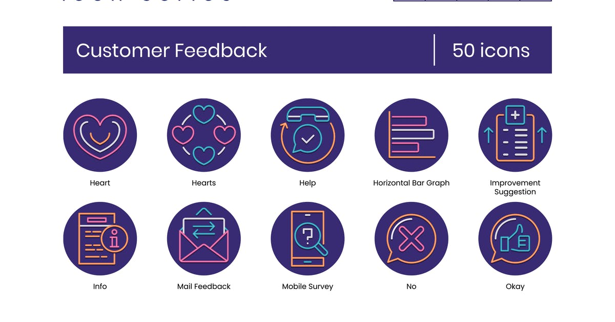 Download 50 Customer Feedback Icons - Neon Series by Krafted