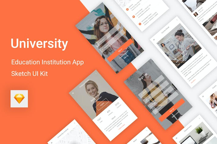 Thumbnail for University - Education & Learning Sketch UI Kit