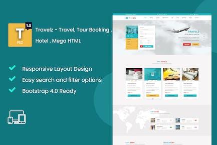 Travelz - Travel, Tour Booking , Hotel , Mega HTML