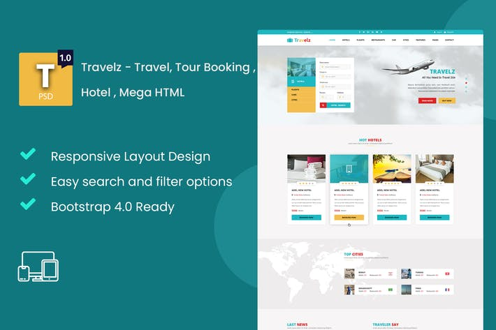 Thumbnail for Travelz - Travel, Tour Booking , Hotel , Mega HTML