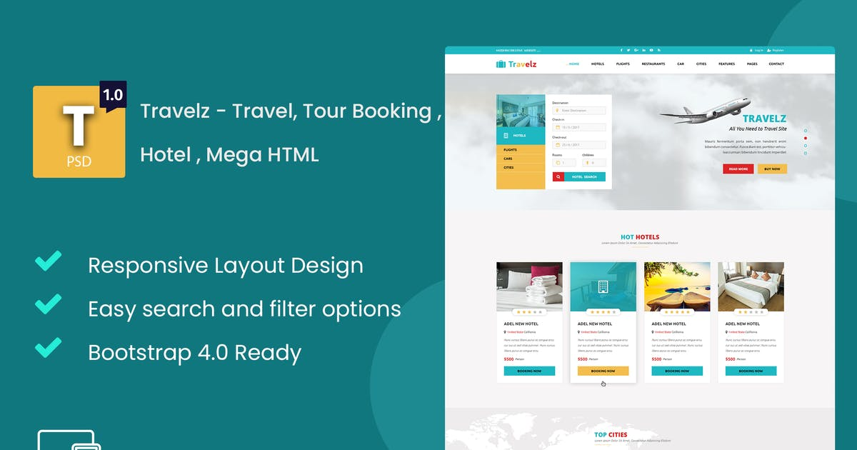 Download Travelz - Travel, Tour Booking , Hotel , Mega HTML by Nile-Theme