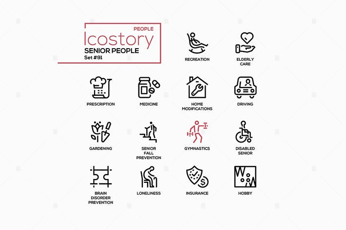 Senior people line design style icons set