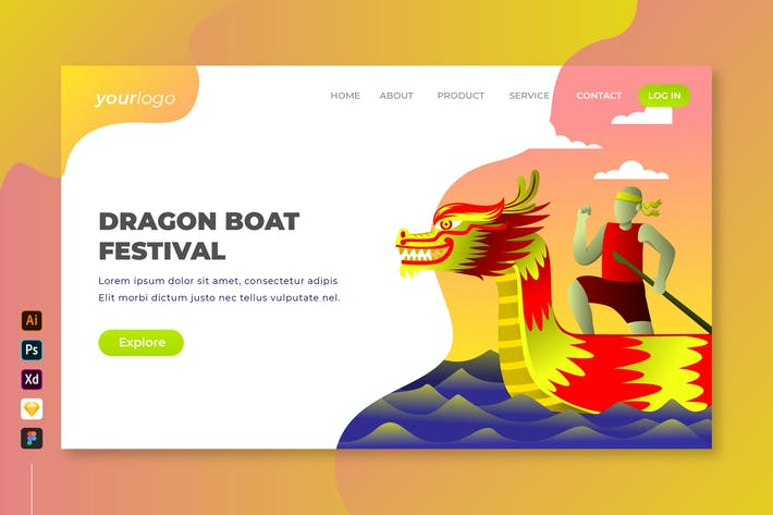 Thumbnail for Dragon Boat Festival - Vector Landing Page