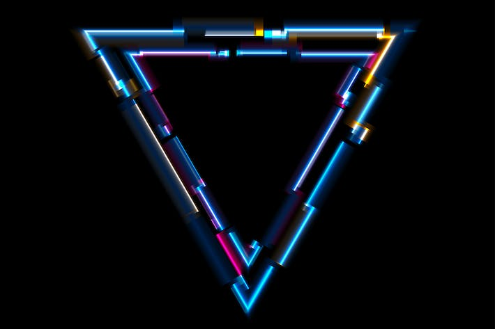 Thumbnail for Abstract tech glowing neon triangle
