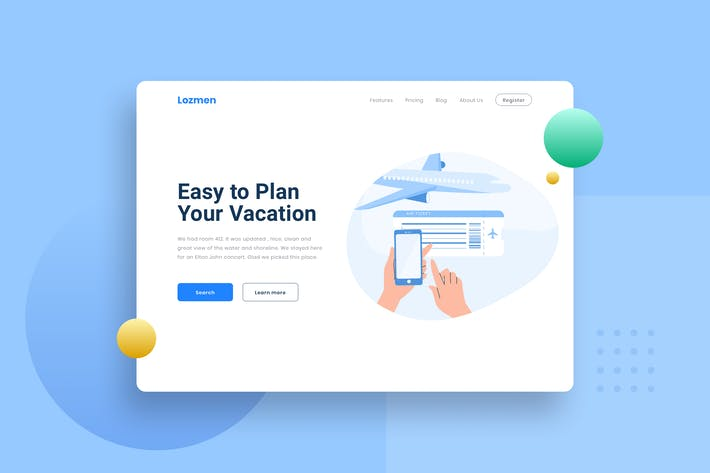 Thumbnail for Travel Buy flight ticket Landing Page Illustration