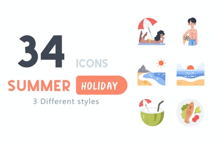 34 Conjunto de iconos de vacaciones de verano