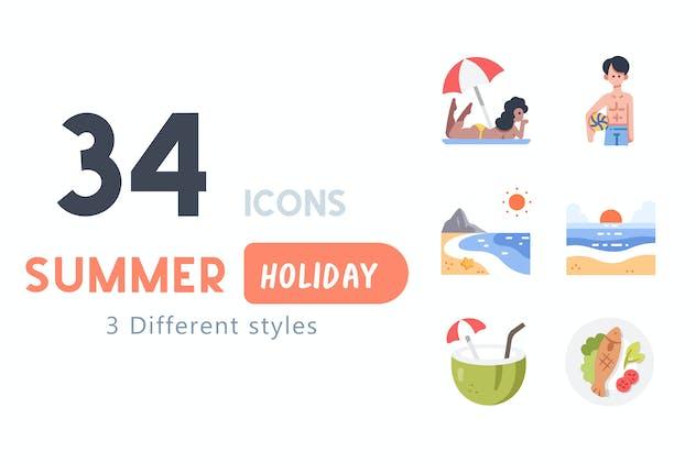 34 Summer Holiday icon set