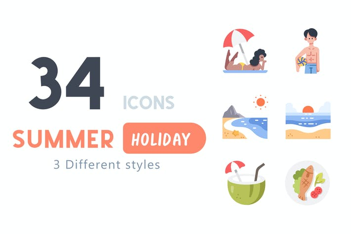 34 Summer Holiday icon set