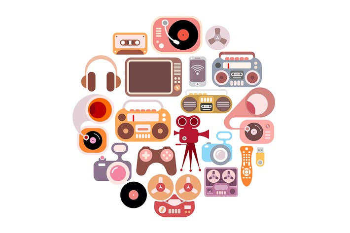 Electronic Icons round shape vector illustration