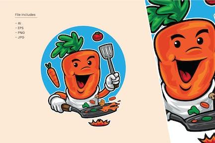 Carrot Cooking Cartoon Illustration