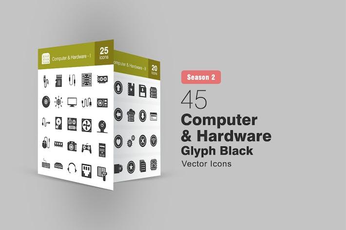 Thumbnail for 45 Computer & Hardware Glyph Icons Season II
