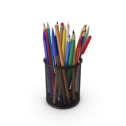 Taza con bolígrafos y lápices