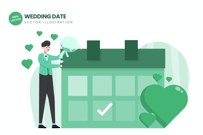 Thumbnail for Wedding Date Flat Vector Illustration