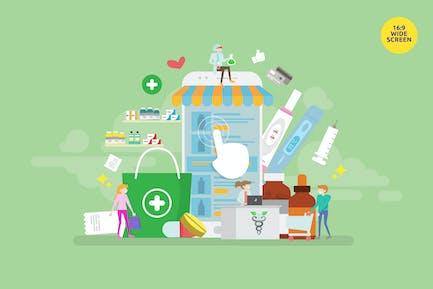 Online Pharmacy Store Vector Illustration Concept