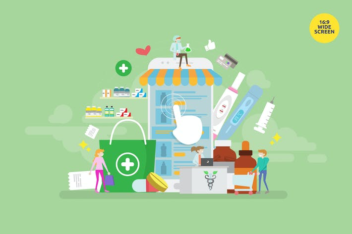 Thumbnail for Online Pharmacy Store Vector Illustration Concept
