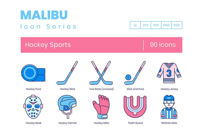 90 Hockey Sports Line Icons