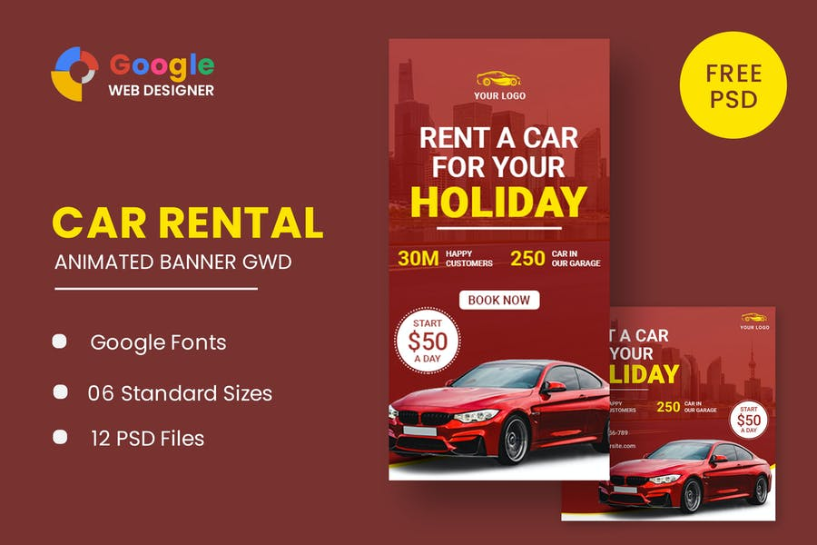 Rent Car Banner HTML5 Banner Ads GWD