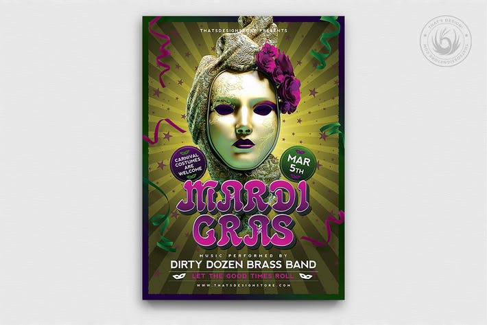 Thumbnail for Mardi Gras Flyer Template V2