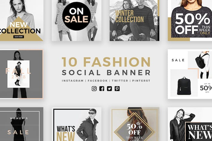 Thumbnail for Fashion Social Media Banners - Kit 01