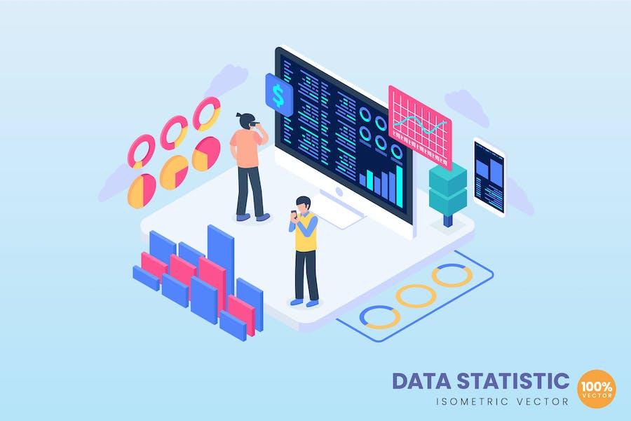 Isometric Data Statistic Concept