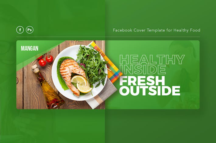 Cover Image For Mangan - Healthy Food Facebook Cover Template