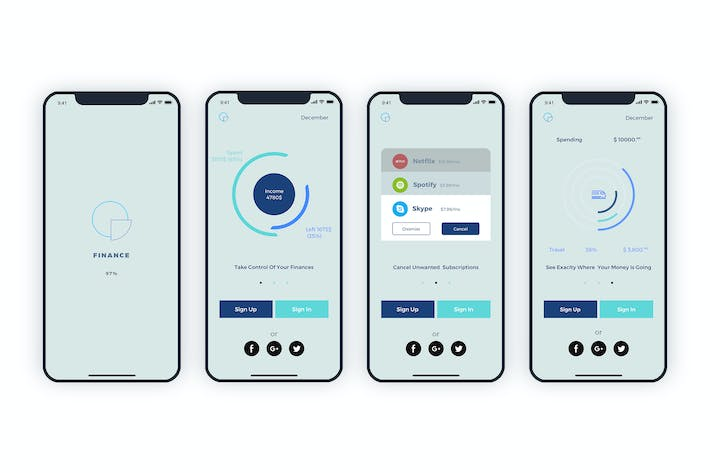 Cover Image For Launch Screens Walkthroughs Finance Mobile UI - FH