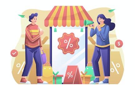 Ilustración de promoción de venta