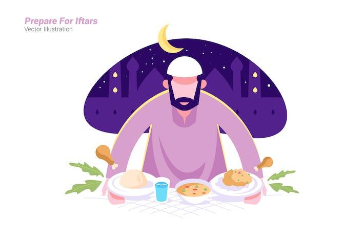 Iftars vorbereiten - Vektor illustration