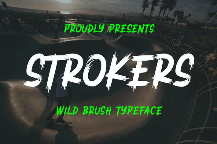 Thumbnail for Строкеры - Wild Brush Typeface