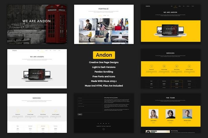 Thumbnail for Andon - Parallax Onepage Muse Template