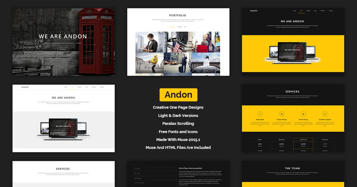Download Andon - Parallax Onepage Muse Template by Muse-Master