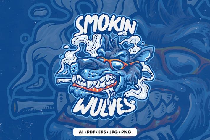 Smoking Wolf Illustration Mascot Logo template