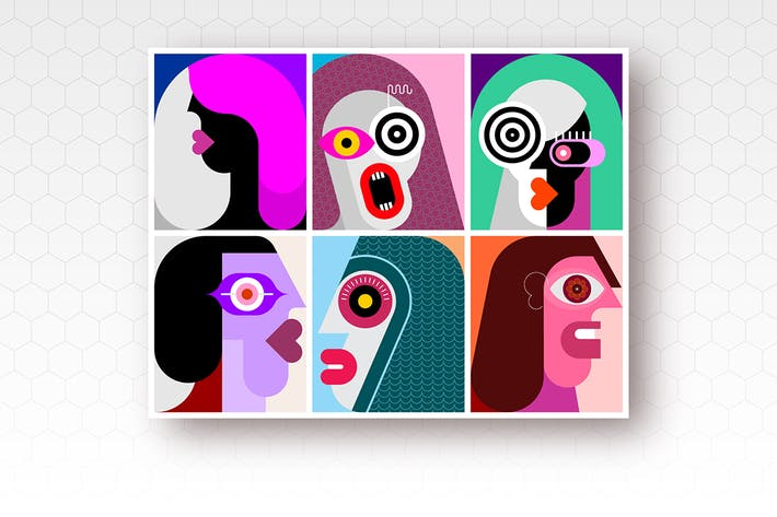 Thumbnail for Six Portraits / Six Faces vector illustration