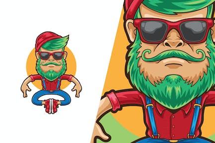 Hipster Man Cartoon Illustration