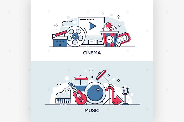 Thumbnail for Cinema and music - line design style illustrations