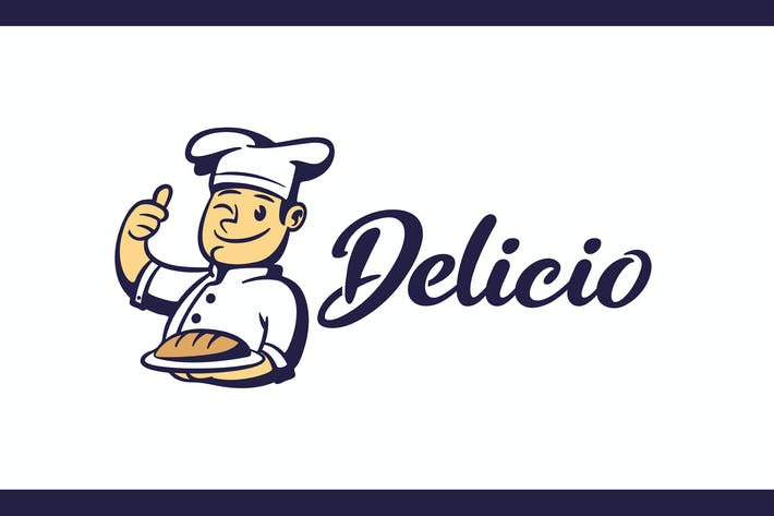 Thumbnail for Cartoon Retro Chef Holding Bread Mascot logo
