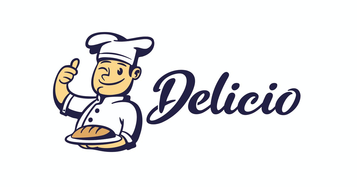 Download Cartoon Retro Chef Holding Bread Mascot logo by Suhandi