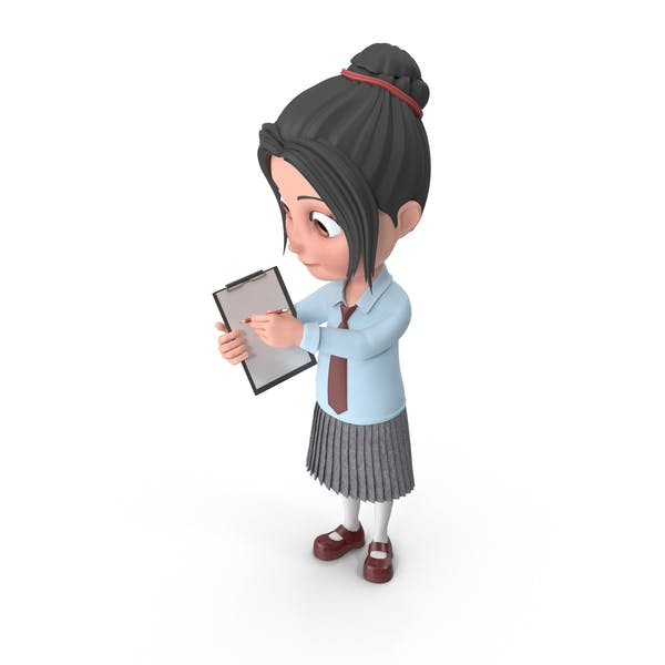Cartoon Girl Emma Holding Notepad