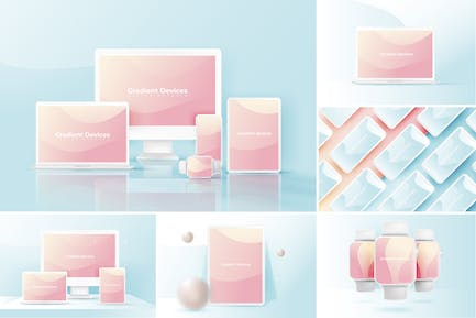 Realistic & Colorful Vector Devices Mockups